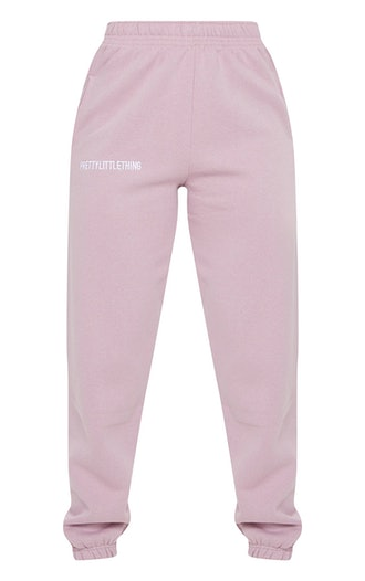 LILAC EMBROIDERED SLOGAN JOGGERS