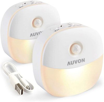 Auvon Rechargeable Motion Sensor Night Lights (2-Pack)
