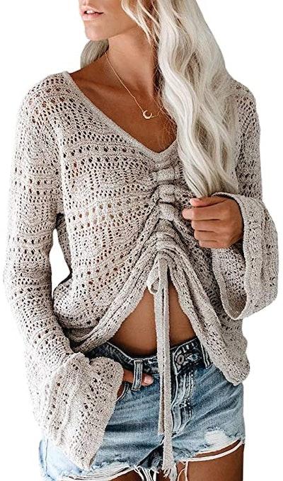 Saodimallsu Boho Bell Sleeve Crochet Sweater