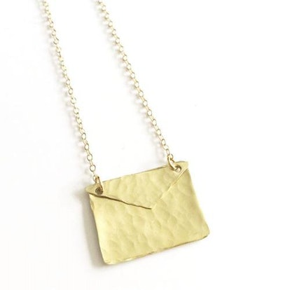 The Pink Locket Gold Envelope Necklace on Gold Filled Chain