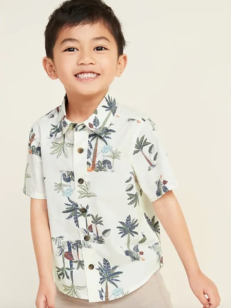 Printed Poplin Shirt for Toddler Boys