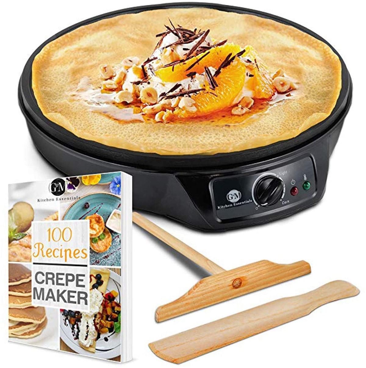 G&M Kitchen Essentials 12-Inch Crepe Maker with Batter Spreader, Wooden Spatula & Cookbook