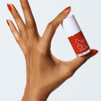 CV is a classically bold red hue from Olive & June.