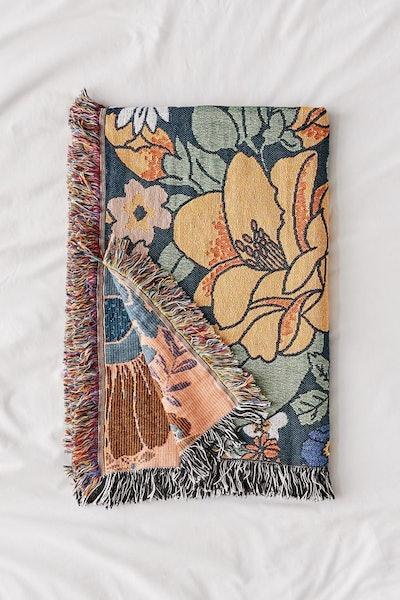 Midnight Bloom Woven Throw Blanket