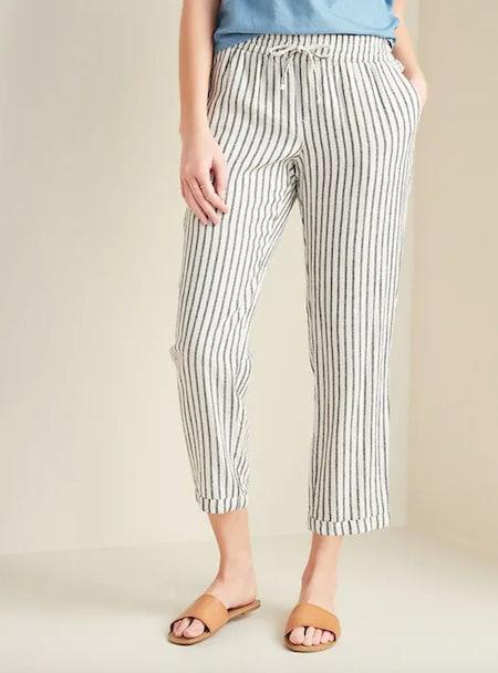 Mid-Rise Cropped Linen-Blend Pants