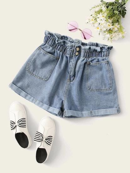 SHEIN Plus Paperbag Waist Rolled Hem Denim Shorts