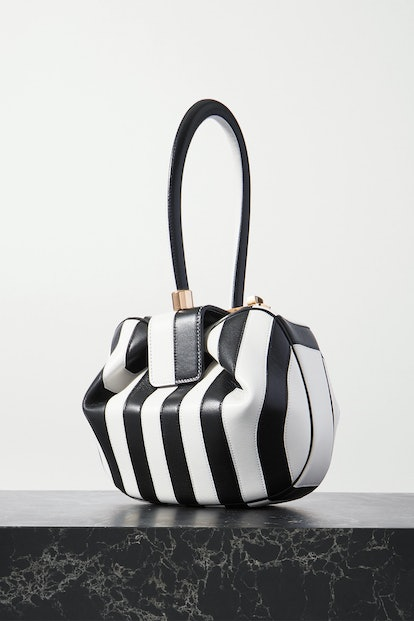 Nina Striped Leather Tote