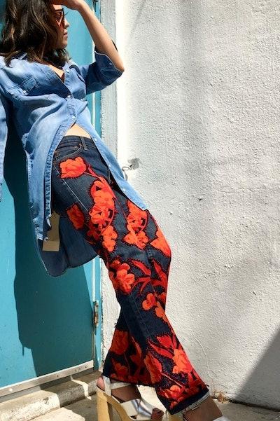 Orange Garden Jeans
