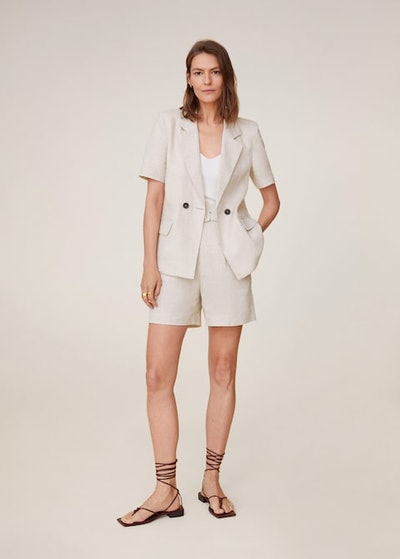 Double-Breasted Linen Suit Blazer