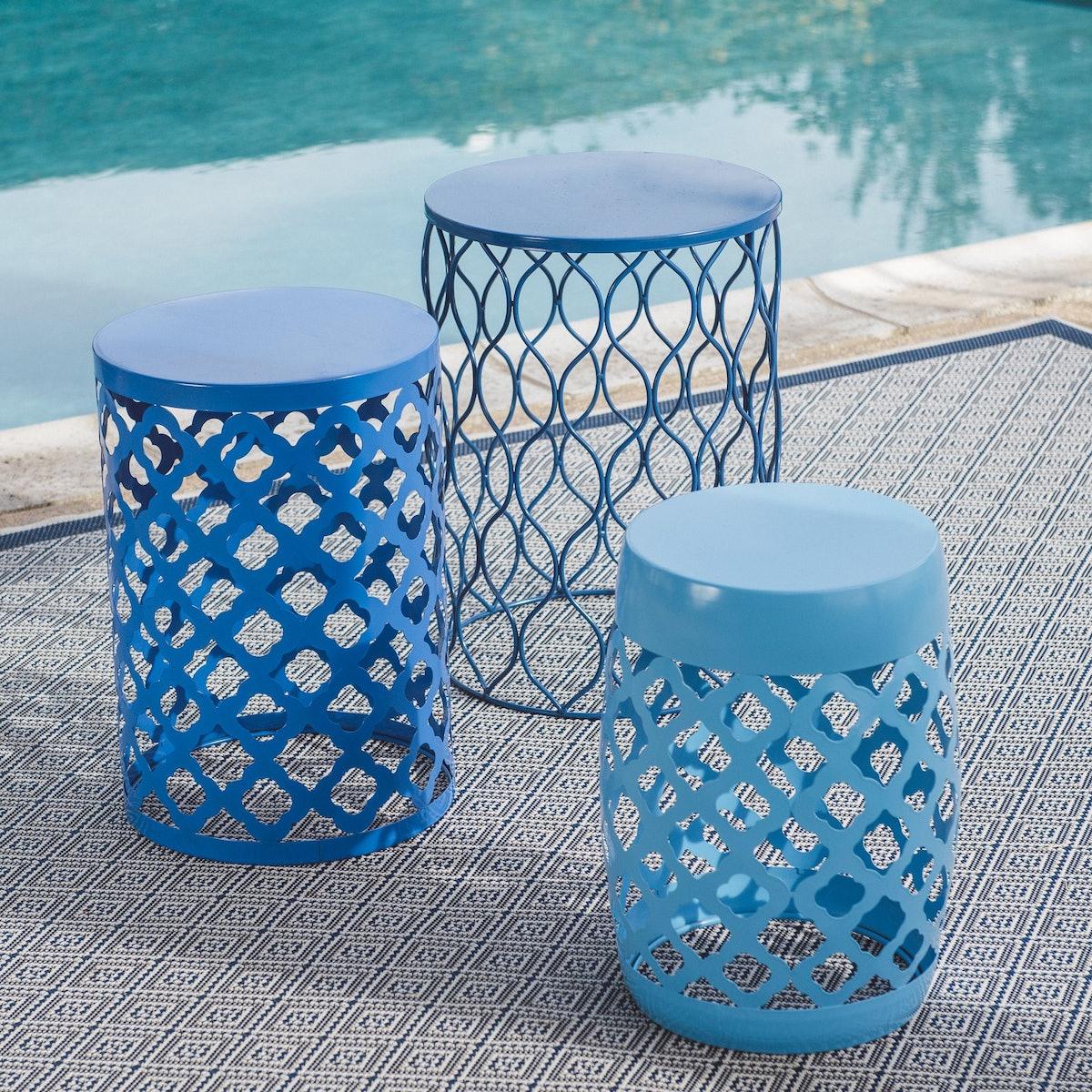 Ellery Round Metal Patio Side Tables