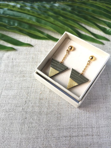 Adoreness Jewelry Green Khaki Leather Triangle Earrings with Gold Plated Chain