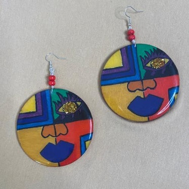 """Cosmiqueen Designs Hand-Painted Colourful Wooden """"Amayah"""" Earrings"""