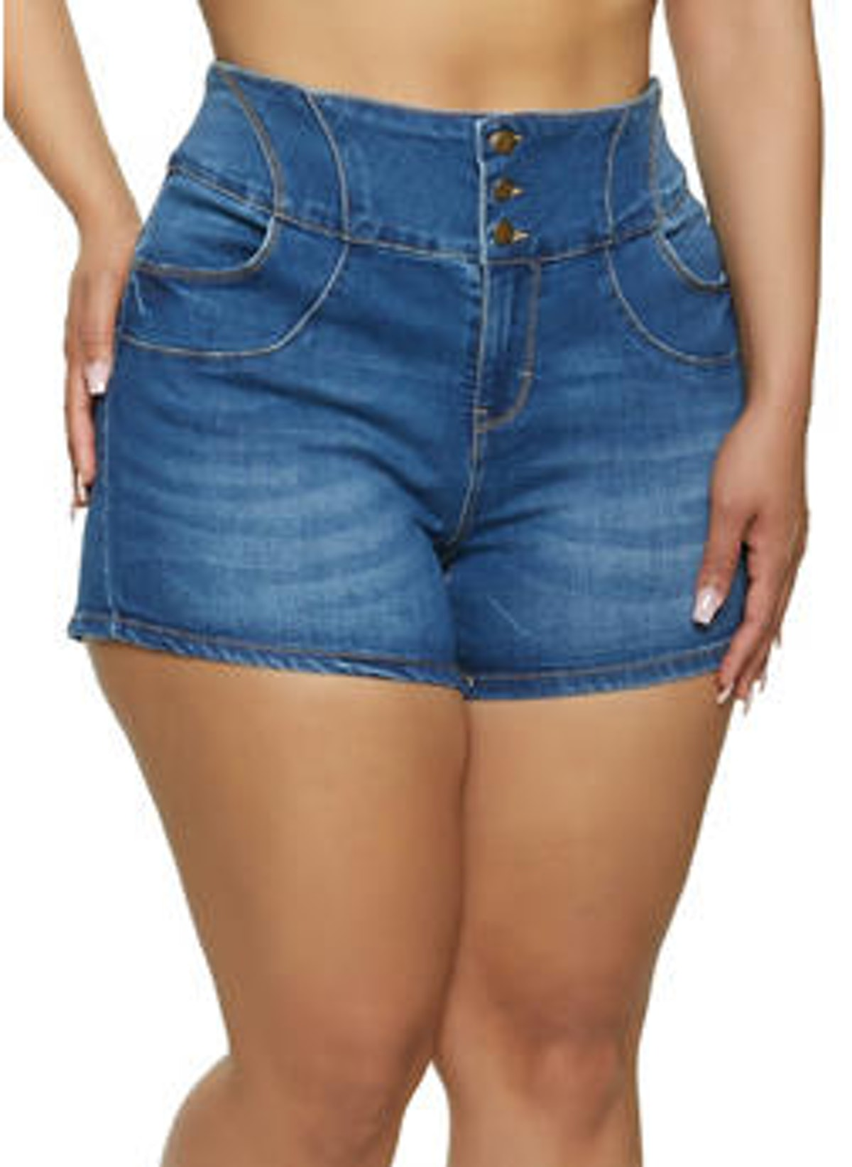 WAX Plus Size 3 Button Push Up Jean Shorts