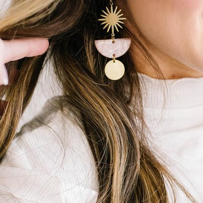 Lace and Pearls Jewelry Acetate Tortoise Shell Starburst Brass earrings