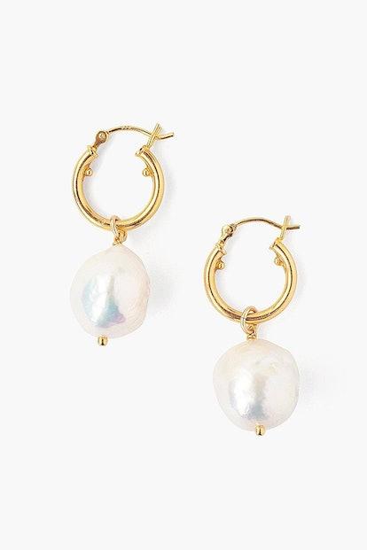 White Baroque Pearl Hoop Earrings