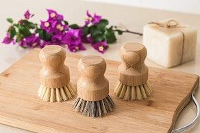 ECOLULU Natural Bamboo Dish Brushes (3-Pack)
