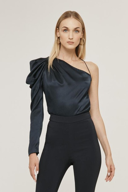 Navy Silk Charmeuse One Shoulder Draped Top