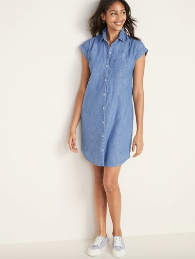 Chambray Cap-Sleeve Shirt Dress