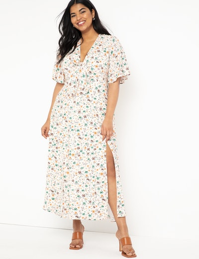 Flutter Sleeve Maxi Dress With Slits
