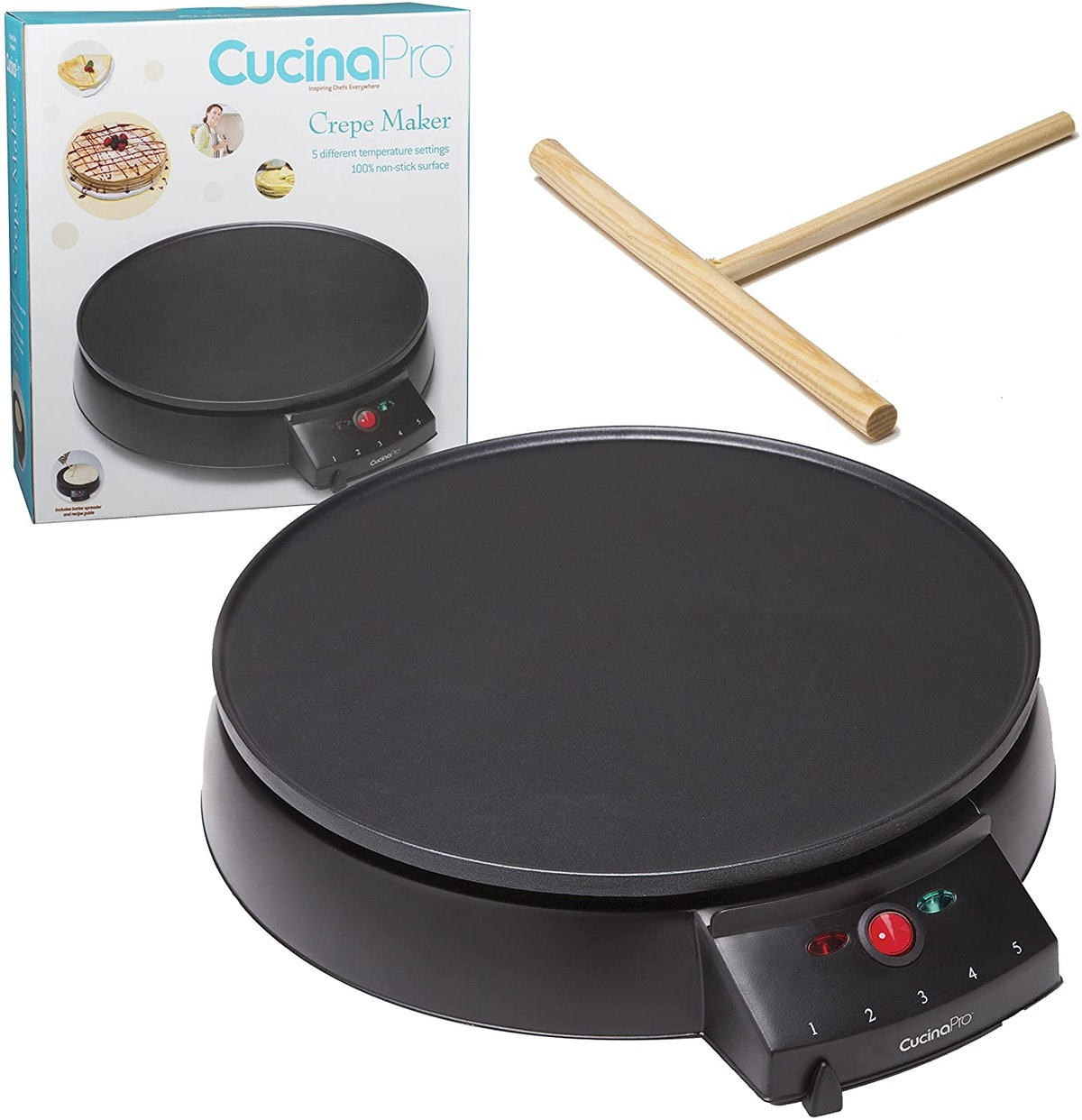 CucinaPro 12-Inch Non-Stick Crepe Maker with Spreader and Recipes