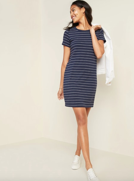 Fitted Striped Crew-Neck Tee Dress