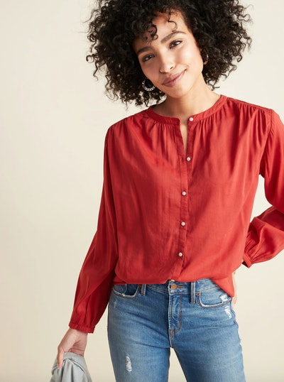 Loose Smocked-Yoke Shirt