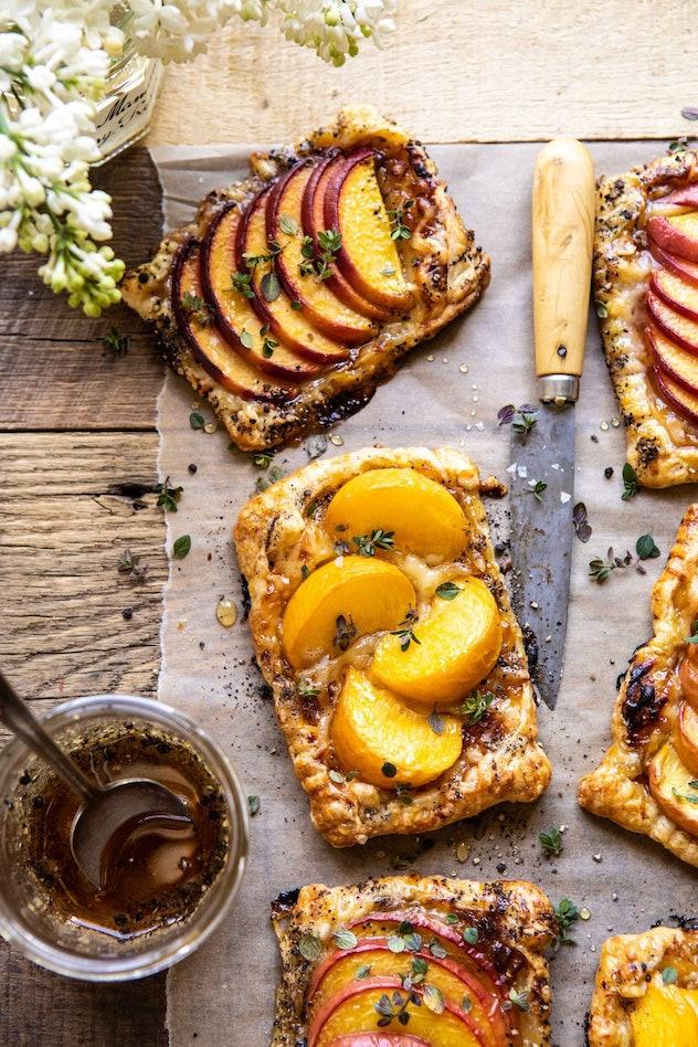 peach thyme tarts