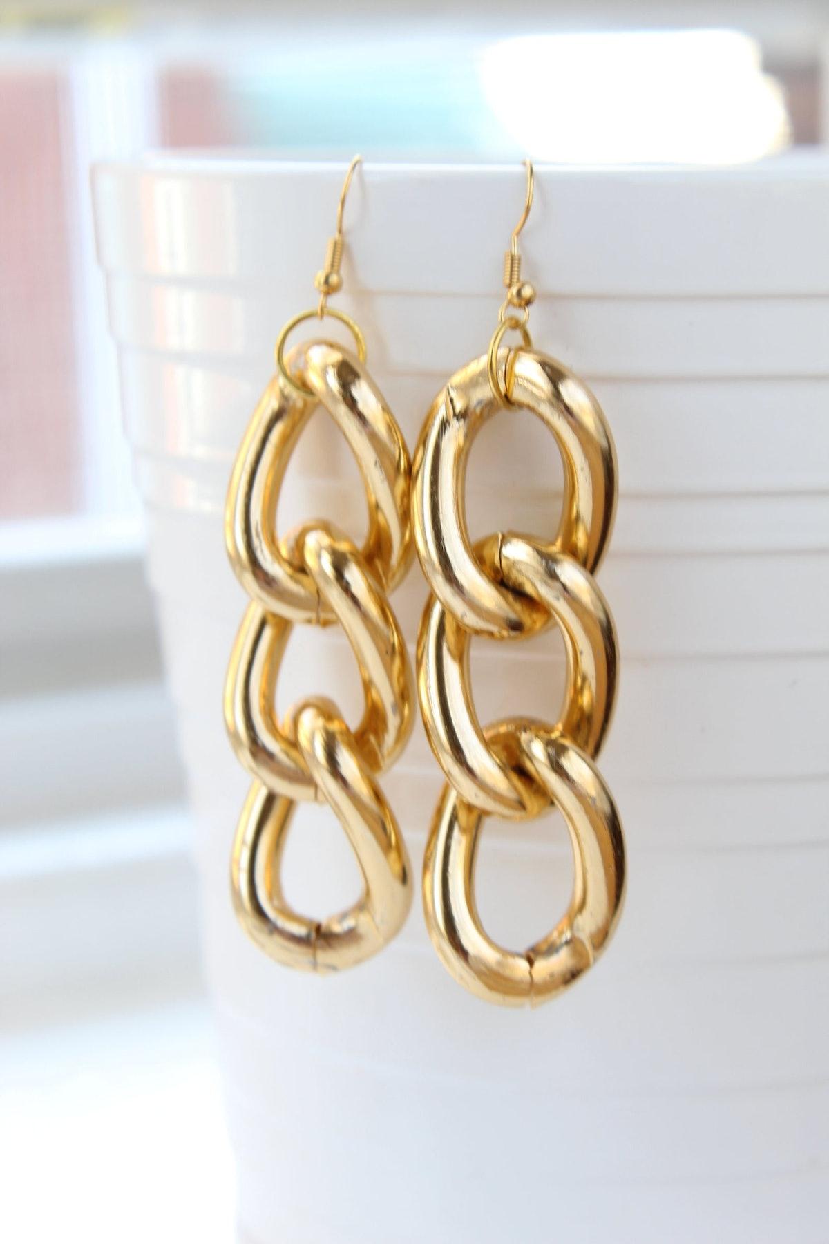 Blackberries Box Gold Plated Chain Link Earrings