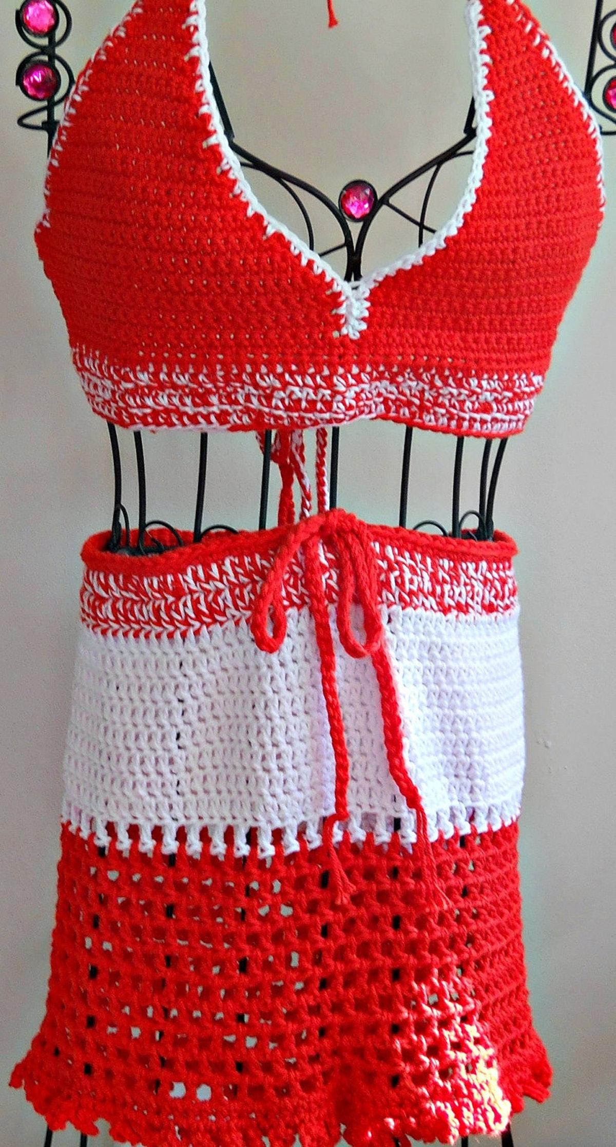 NiseyLee Crochet Bra And Skirt Swimsuit Coverup