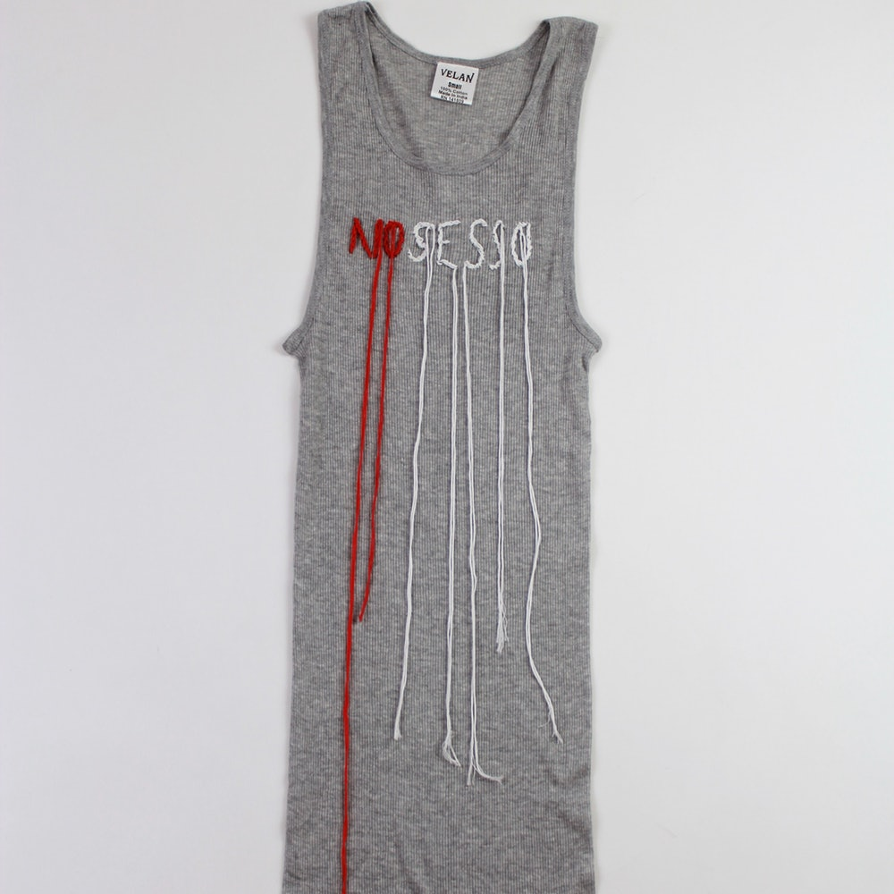 Embroidery Tank in Grey