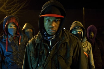 """John Boyega, as """"Moses,"""" leads his mates against an alien invasion in the 2011 film 'Attack the Block.'"""