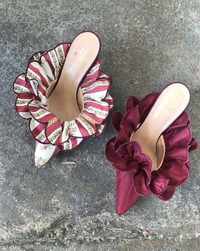 Brother Vellies Stell Mules in Berry Moire