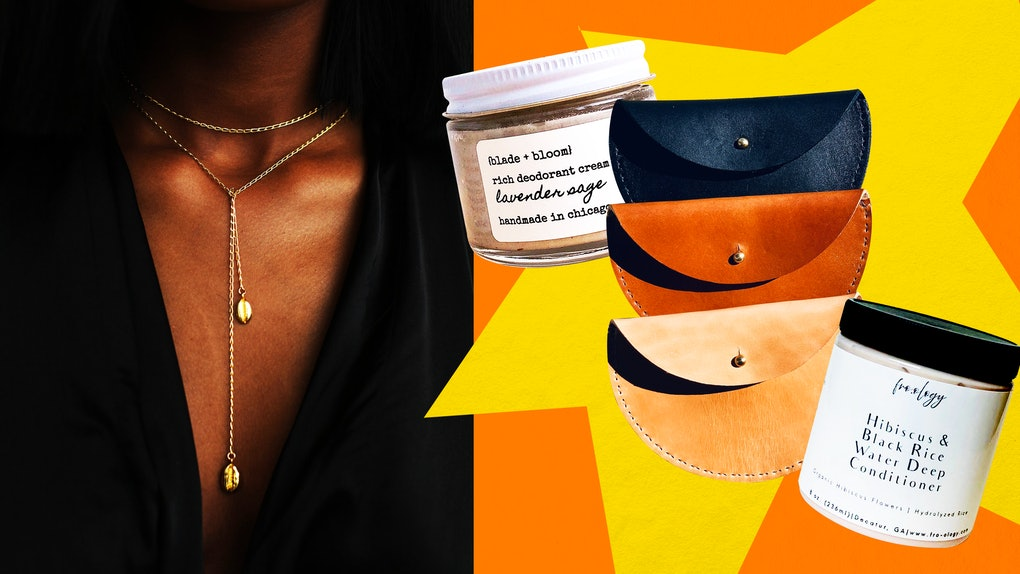 A Black woman models jewelry from a Black-owned Etsy shop on the left, with other beauty, hair, and fashion accessories from Black-owned Etsy shops on the right.
