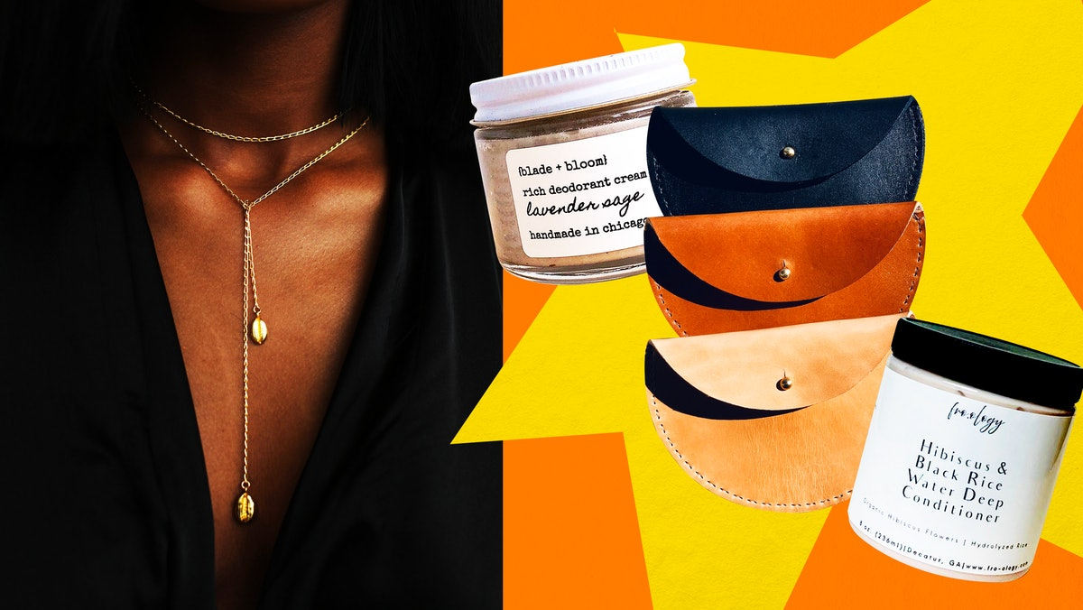 A Black woman models jewelry from a Black-owned Etsy shop on the left, with other beauty, hair, and ...