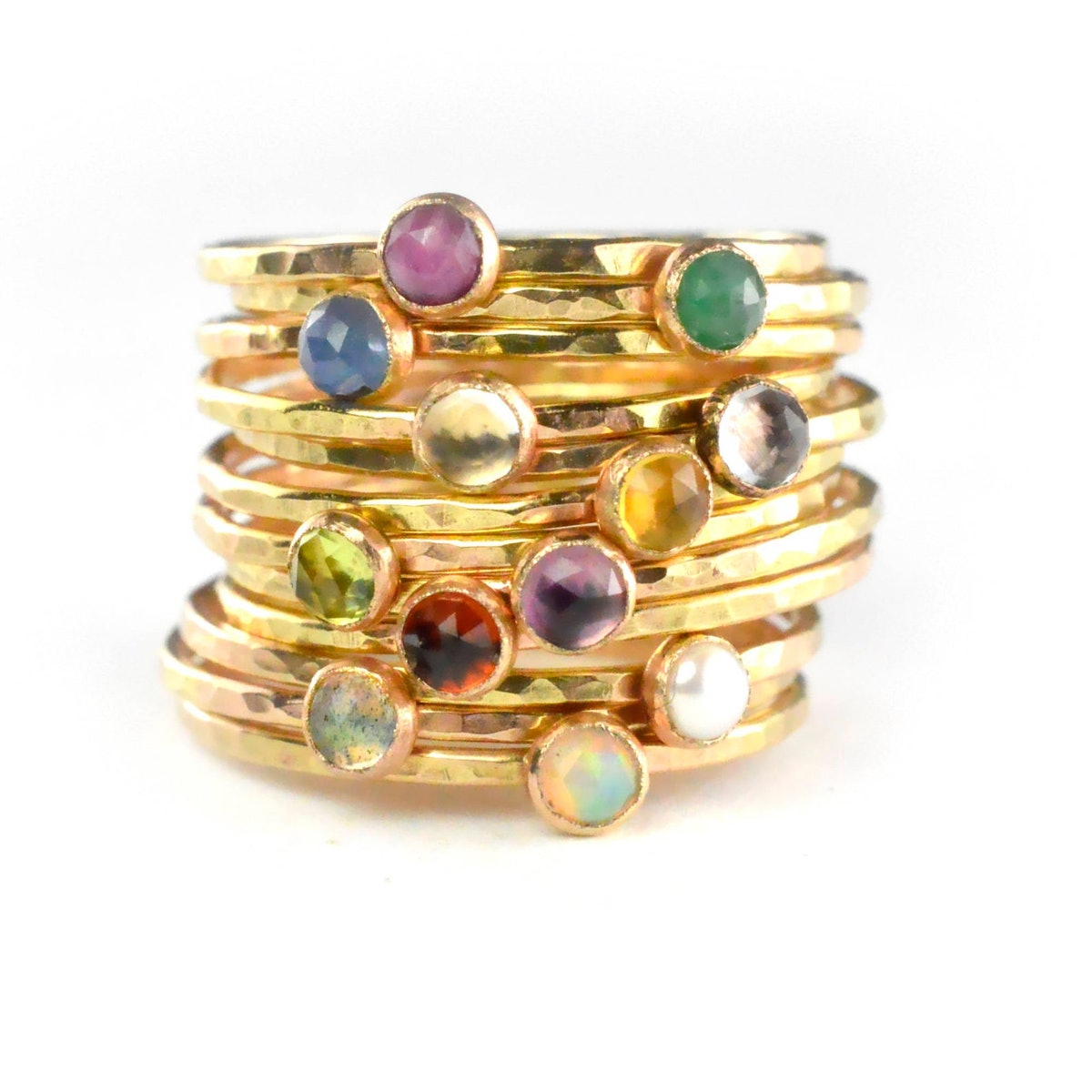 Aquarian Thoughts Birthstone Stacking Ring