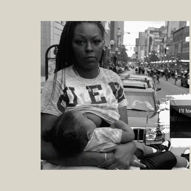 Autumnn Gaines with her child at a Black Lives Matter protest