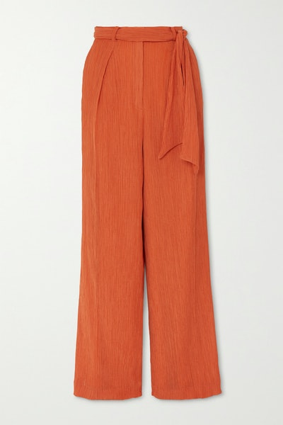 Thomazia Plissé Cotton And Silk-Blend Wide-Leg Pants