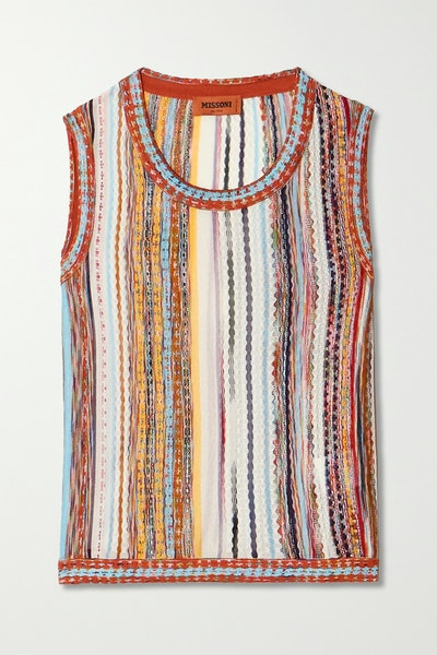 Striped Crochet-Knit Cotton-Blend Tank