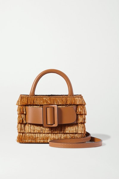 Bobby Surreal Buckled Leather-Trimmed Fringed Raffia Shoulder Bag