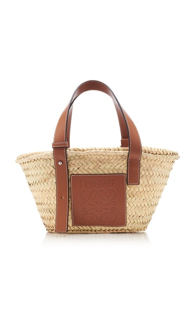 Small Leather-Trimmed Straw Basket Tote