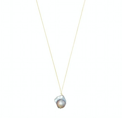 Gray Baroque Pearl Necklace With 14k Gold Chain