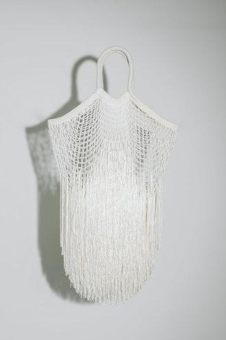 White Large Fringe Tote