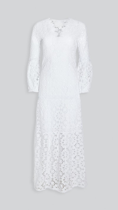Argentino Daisy Lace V Neck Gown