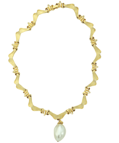 Vintage Scalloped Gold Statement Necklace with Pearl Pendant