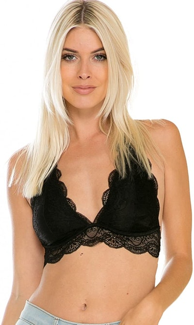 Residents On Stretchy Halter Full Lace Bralette