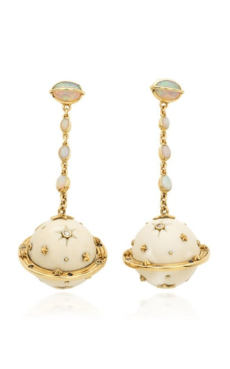 Galaxy Saturn 18K Gold And Multi-Stone Earrings