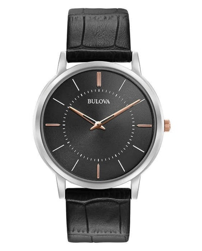 Bulova Black Dial and Leather Strap Men's Watch