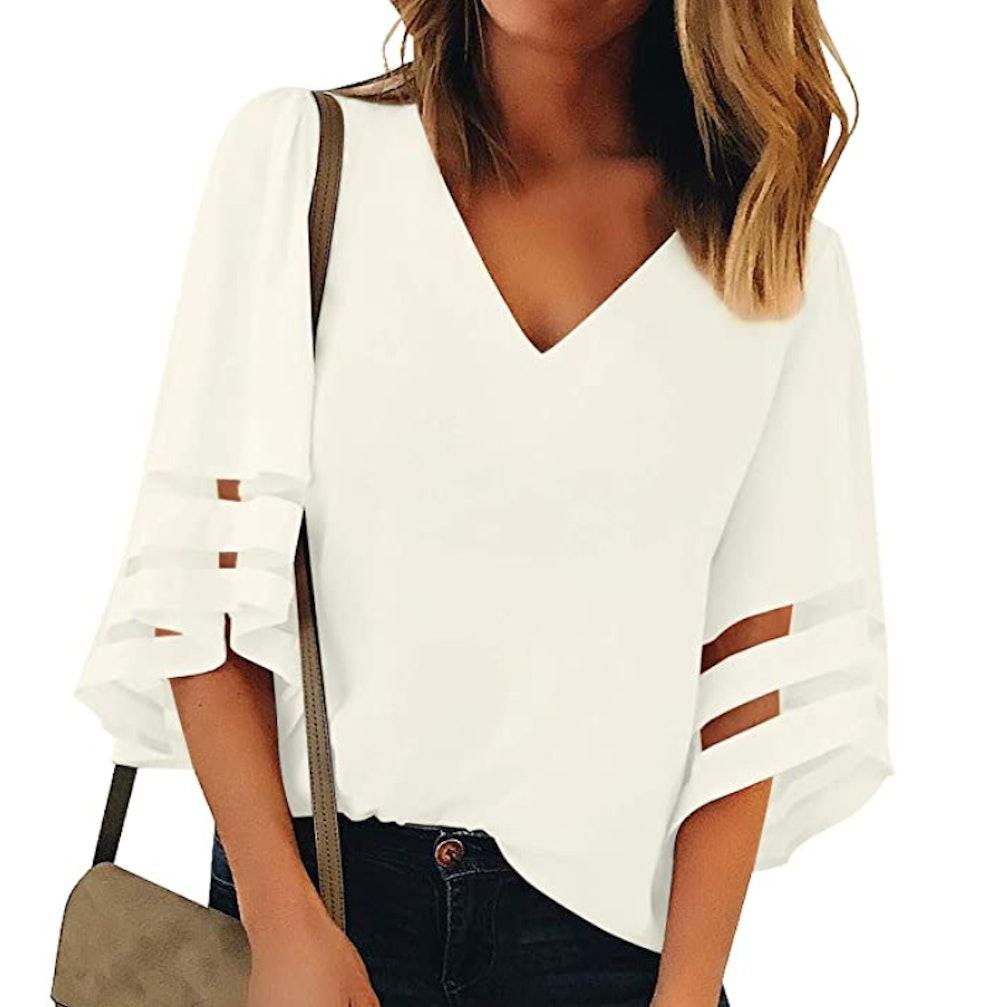 LookbookStore Mesh Panel Sleeves Blouse