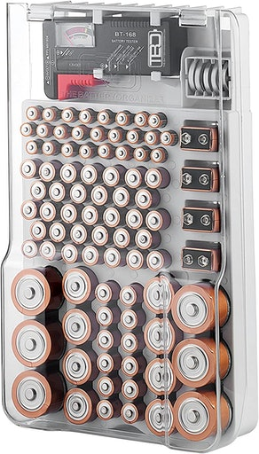 The Battery Organizer Storage Case with Hinged Clear
