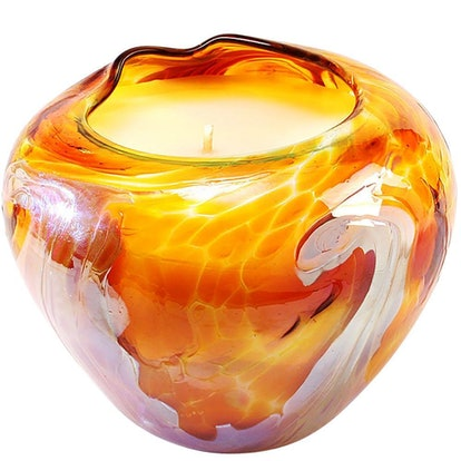 Hand Blown Glass Heirloom Artisan Soy Candle (Amber)